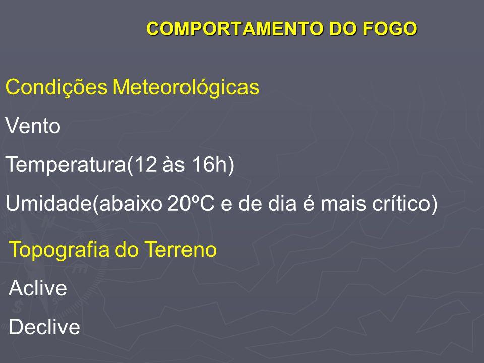 COMPORTAMENTO DO FOGO Condições Meteorológicas Vento Temperatura(12 às 16h) Umidade(abaixo 20ºC e de dia é mais crítico) Topografia do Terreno Aclive
