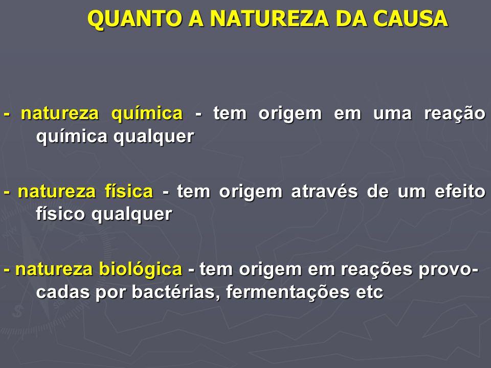 QUANTO A NATUREZA DA CAUSA - natureza química - tem origem em uma reação química qualquer - natureza física - tem origem através de um efeito físico q