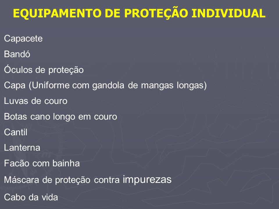 EQUIPAMENTO DE PROTEÇÃO INDIVIDUAL Capacete Bandó Óculos de proteção Capa (Uniforme com gandola de mangas longas) Luvas de couro Botas cano longo em c