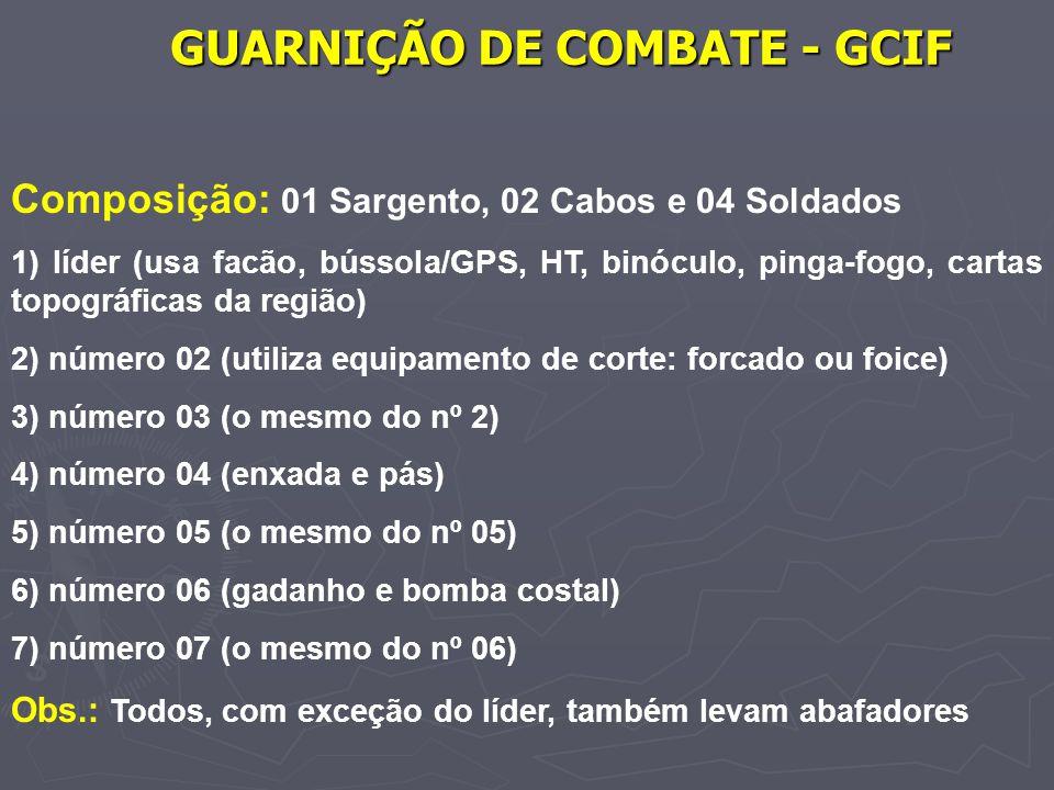 GUARNIÇÃO DE COMBATE - GCIF Composição: 01 Sargento, 02 Cabos e 04 Soldados 1) líder (usa facão, bússola/GPS, HT, binóculo, pinga-fogo, cartas topográ