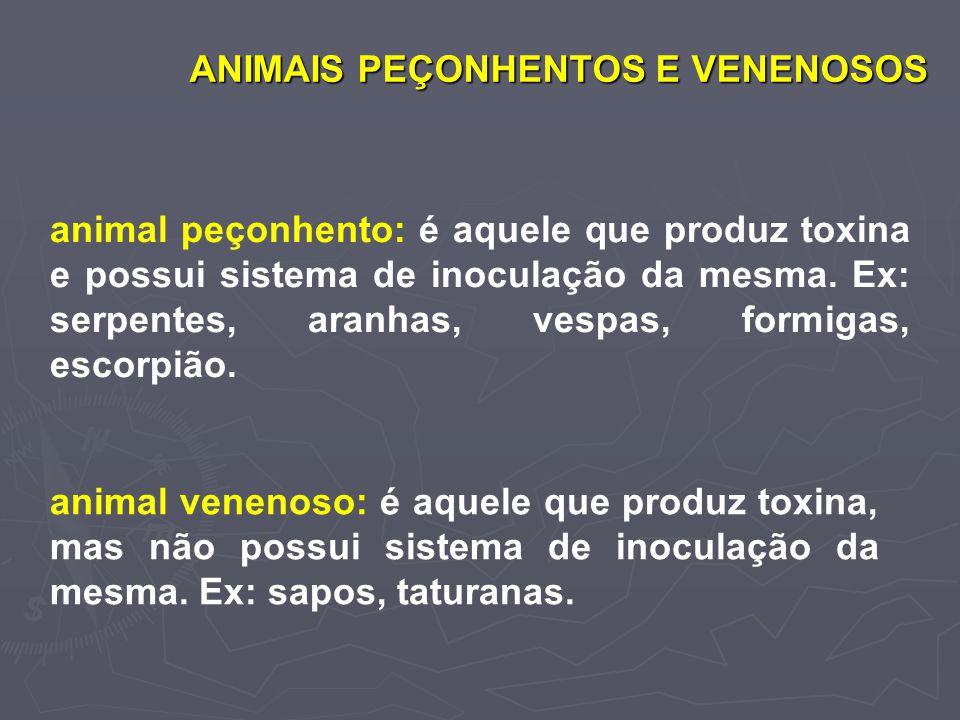 ANIMAIS PEÇONHENTOS E VENENOSOS animal peçonhento: é aquele que produz toxina e possui sistema de inoculação da mesma. Ex: serpentes, aranhas, vespas,
