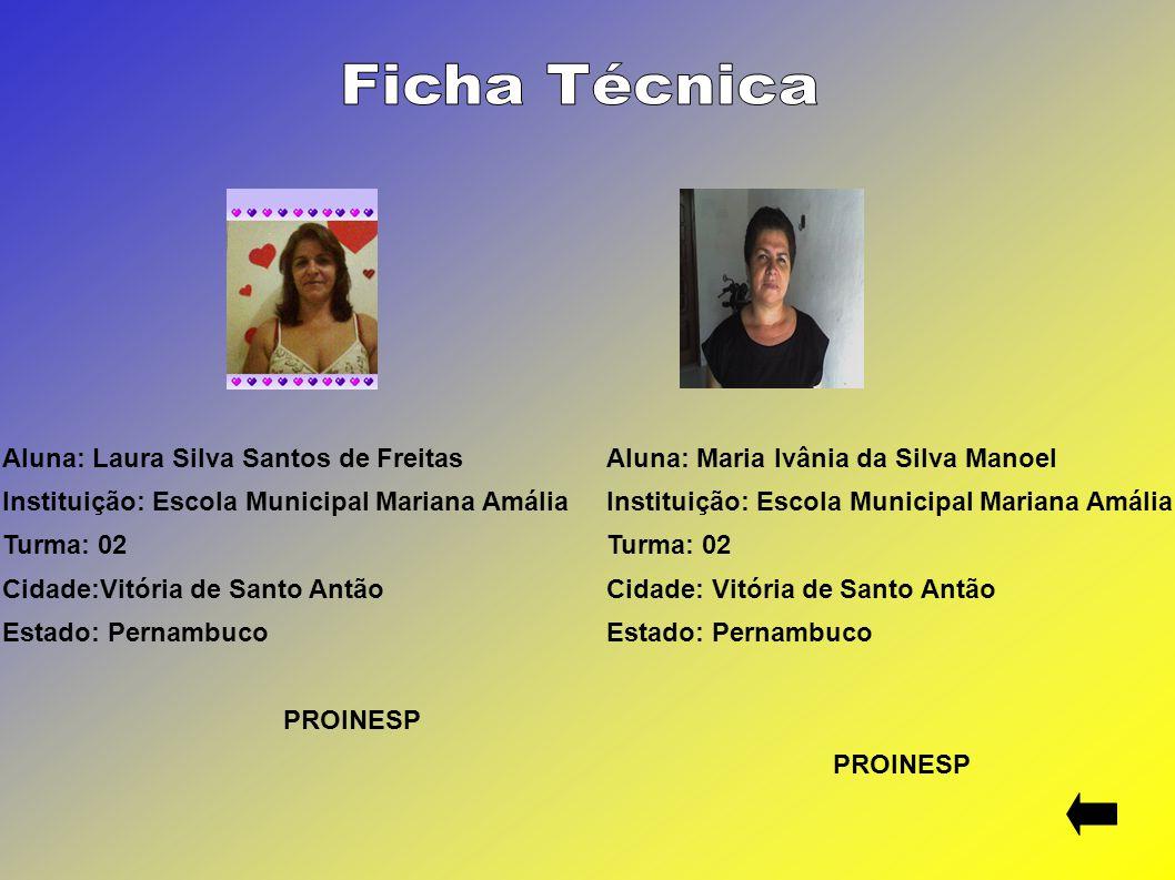 Aluna: Laura Silva Santos de Freitas Instituição: Escola Municipal Mariana Amália Turma: 02 Cidade:Vitória de Santo Antão Estado: Pernambuco PROINESP