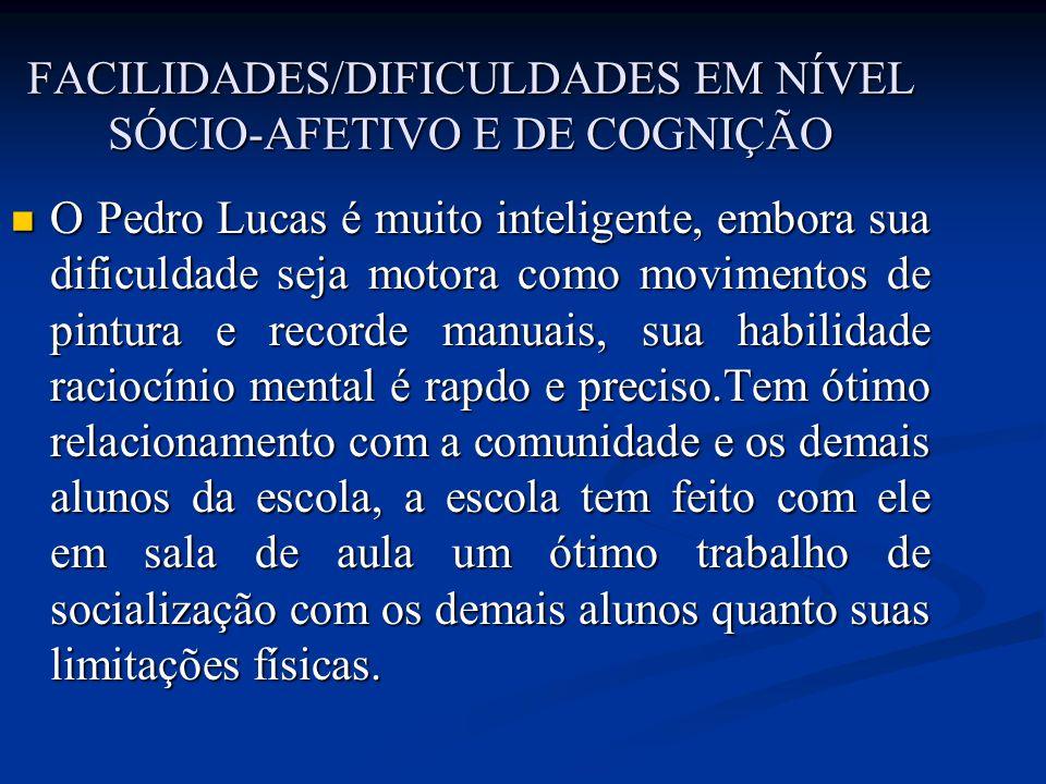 FACILIDADES/DIFICULDADES EM NÍVEL SÓCIO-AFETIVO E DE COGNIÇÃO O Pedro Lucas é muito inteligente, embora sua dificuldade seja motora como movimentos de
