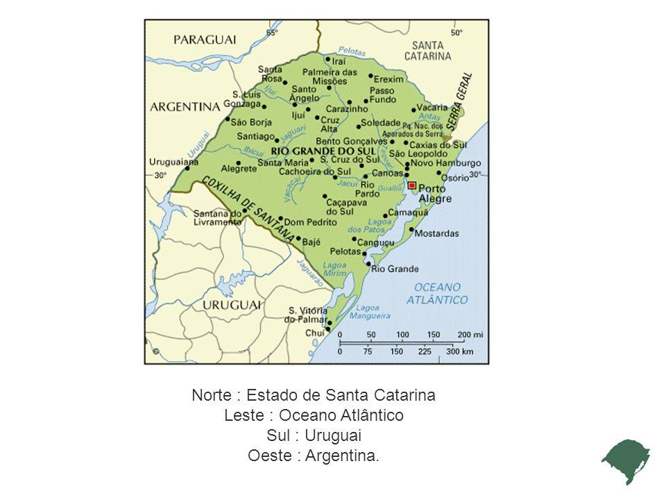 Norte : Estado de Santa Catarina Leste : Oceano Atlântico Sul : Uruguai Oeste : Argentina.