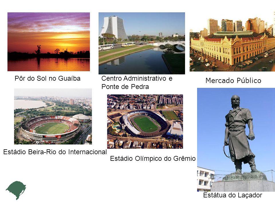 Pôr do Sol no Guaíba Estádio Beira-Rio do Internacional Estádio Olímpico do Grêmio Centro Administrativo e Ponte de Pedra Mercado Público Estátua do Laçador