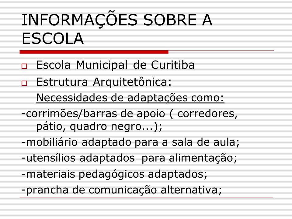INFORMAÇÕES SOBRE A ESCOLA Escola Municipal de Curitiba Estrutura Arquitetônica: Necessidades de adaptações como: -corrimões/barras de apoio ( corredo