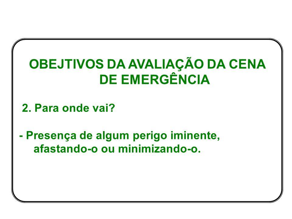 OBEJTIVOS DA AVALIAÇÃO DA CENA DE EMERGÊNCIA 2.Para onde vai.