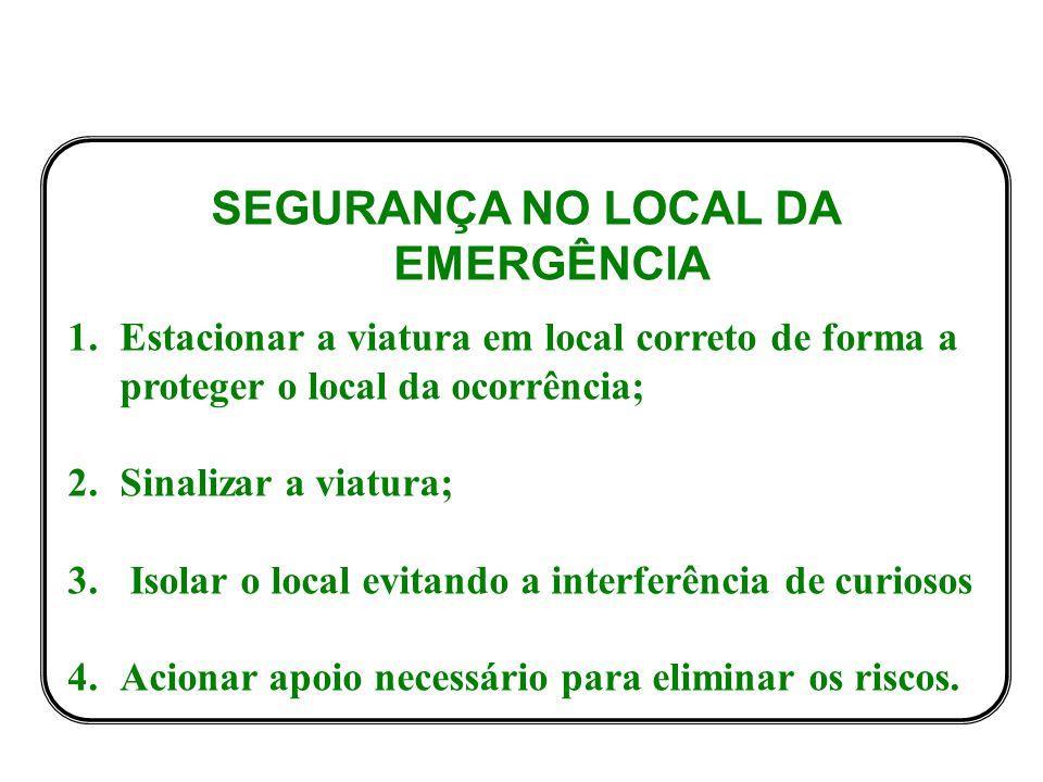 SEGURANÇA NO LOCAL DA EMERGÊNCIA 1.Estacionar a viatura em local correto de forma a proteger o local da ocorrência; 2.Sinalizar a viatura; 3.