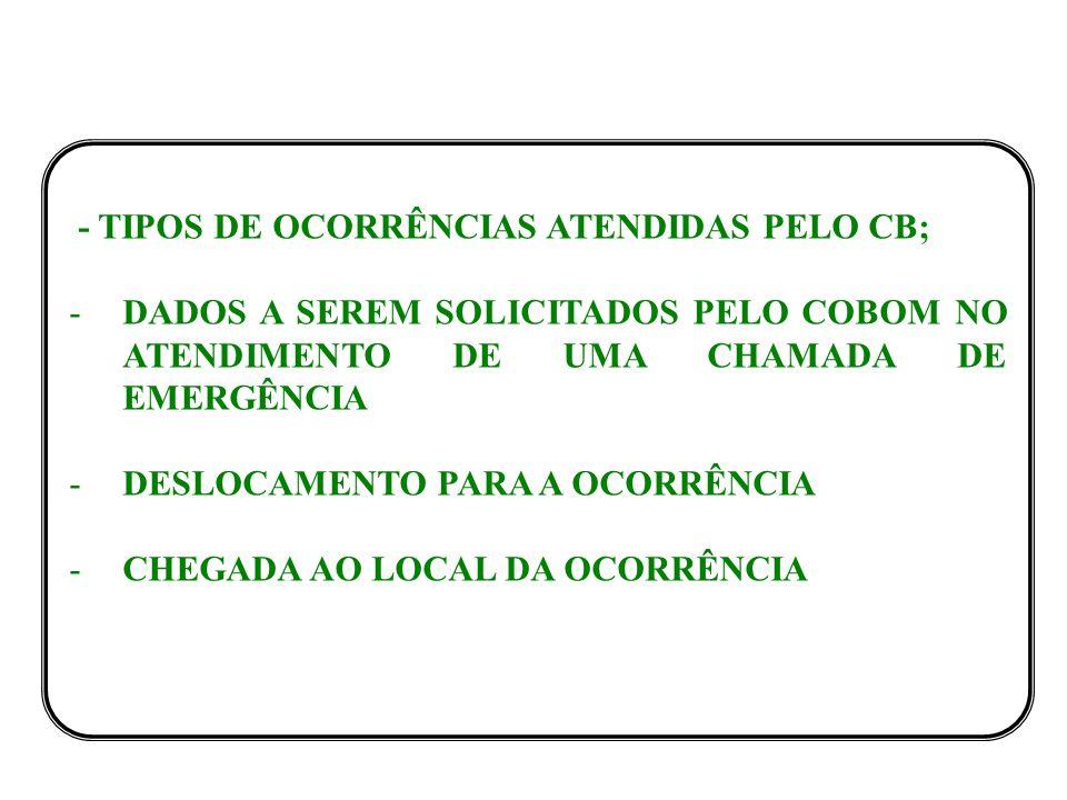 - TIPOS DE OCORRÊNCIAS ATENDIDAS PELO CB; -DADOS A SEREM SOLICITADOS PELO COBOM NO ATENDIMENTO DE UMA CHAMADA DE EMERGÊNCIA -DESLOCAMENTO PARA A OCORRÊNCIA -CHEGADA AO LOCAL DA OCORRÊNCIA