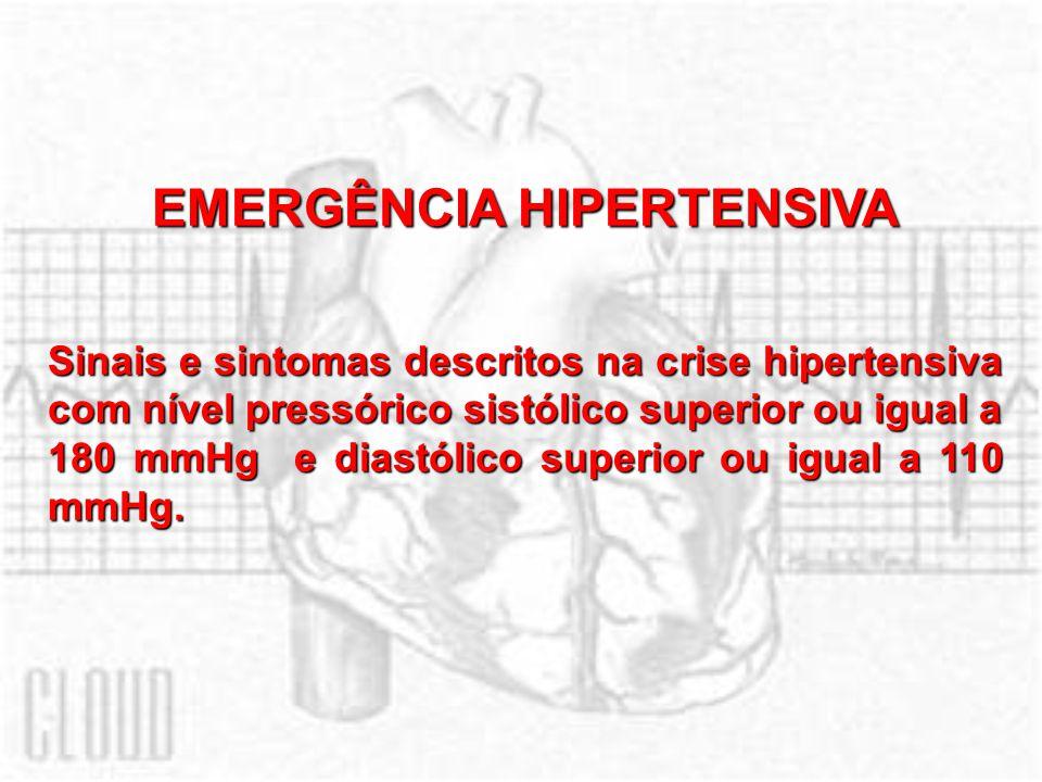 EMERGÊNCIA HIPERTENSIVA Sinais e sintomas descritos na crise hipertensiva com nível pressórico sistólico superior ou igual a 180 mmHg e diastólico sup