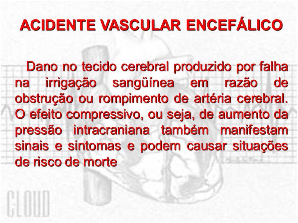 ACIDENTE VASCULAR ENCEFÁLICO Dano no tecido cerebral produzido por falha na irrigação sangüínea em razão de obstrução ou rompimento de artéria cerebra