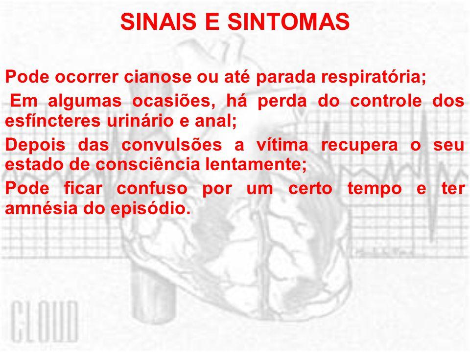 SINAIS E SINTOMAS Pode ocorrer cianose ou até parada respiratória; Em algumas ocasiões, há perda do controle dos esfíncteres urinário e anal; Depois d