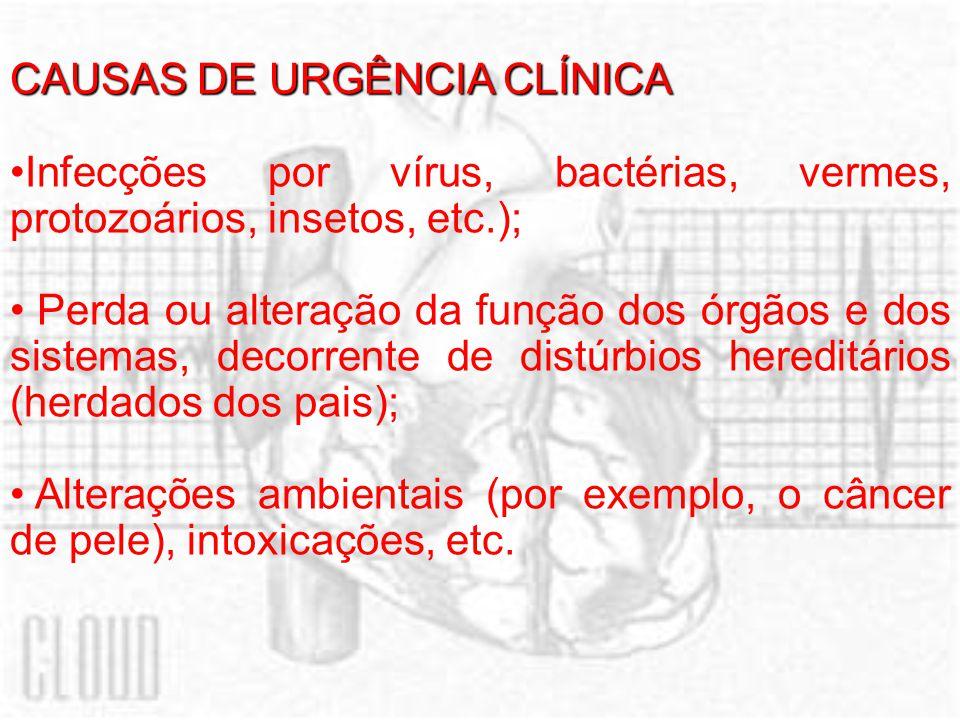 CAUSAS DE URGÊNCIA CLÍNICA Infecções por vírus, bactérias, vermes, protozoários, insetos, etc.); Perda ou alteração da função dos órgãos e dos sistemas, decorrente de distúrbios hereditários (herdados dos pais); Alterações ambientais (por exemplo, o câncer de pele), intoxicações, etc.