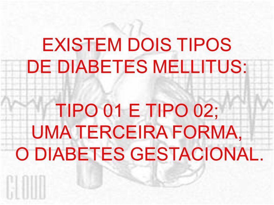 EXISTEM DOIS TIPOS DE DIABETES MELLITUS: TIPO 01 E TIPO 02; UMA TERCEIRA FORMA, O DIABETES GESTACIONAL.