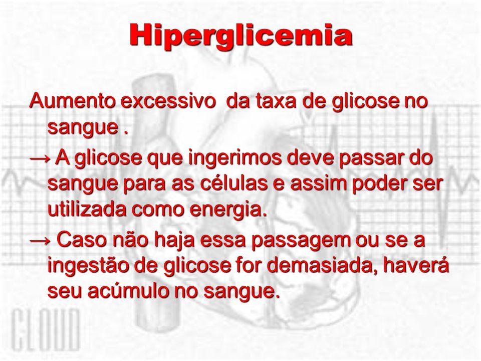 Hiperglicemia Aumento excessivo da taxa de glicose no sangue. A glicose que ingerimos deve passar do sangue para as células e assim poder ser utilizad