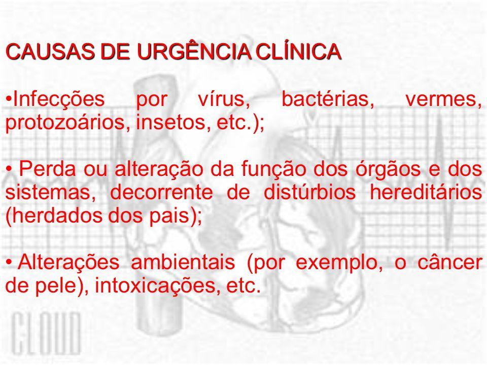 CAUSAS DE URGÊNCIA CLÍNICA Infecções por vírus, bactérias, vermes, protozoários, insetos, etc.); Perda ou alteração da função dos órgãos e dos sistema