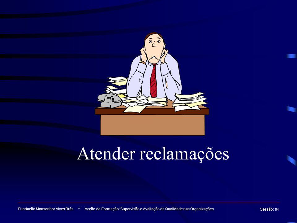 Atender reclamações Fundação Monsenhor Alves Brás * Acção de Formação: Supervisão e Avaliação da Qualidade nas Organizações Sessão : 04