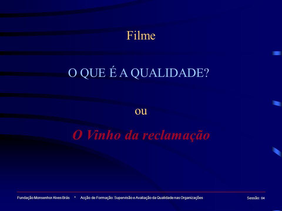 Filme Fundação Monsenhor Alves Brás * Acção de Formação: Supervisão e Avaliação da Qualidade nas Organizações Sessão : 04 O QUE É A QUALIDADE.