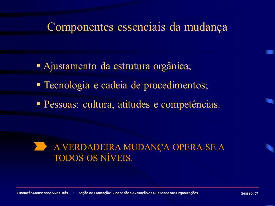 Componentes essenciais da mudança Fundação Monsenhor Alves Brás * Acção de Formação: Supervisão e Avaliação da Qualidade nas Organizações Sessão : 07