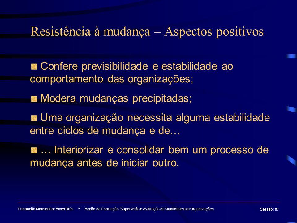 Resistência à mudança – Aspectos positivos Fundação Monsenhor Alves Brás * Acção de Formação: Supervisão e Avaliação da Qualidade nas Organizações Ses
