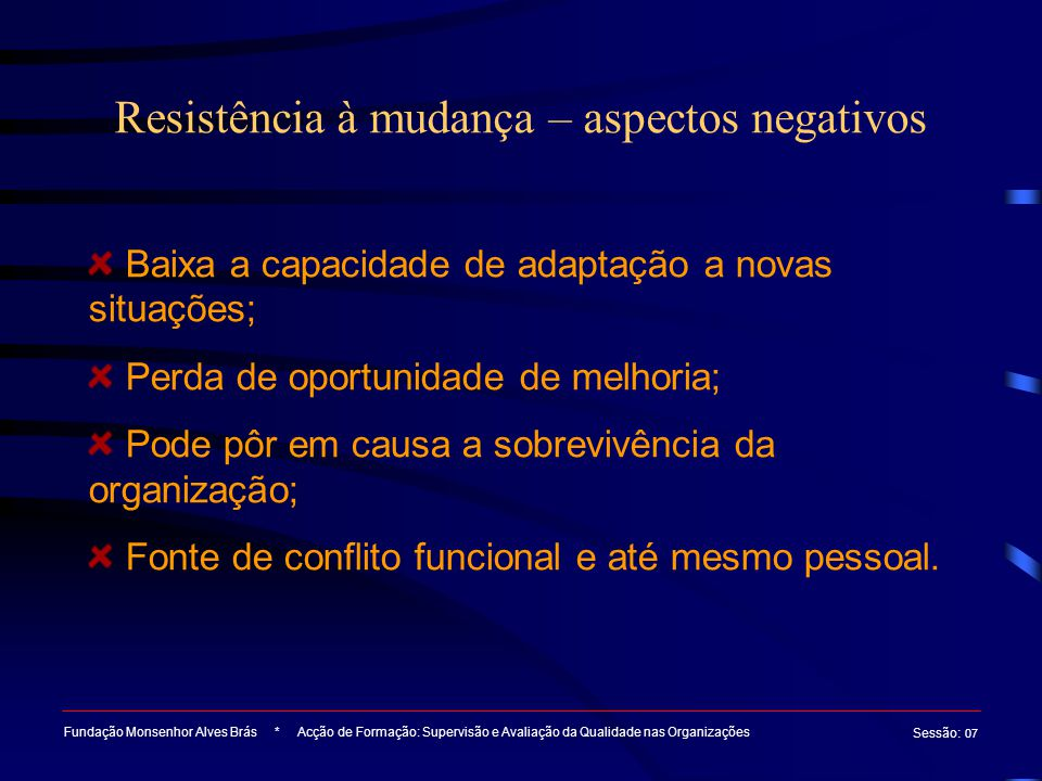 Resistência à mudança – aspectos negativos Fundação Monsenhor Alves Brás * Acção de Formação: Supervisão e Avaliação da Qualidade nas Organizações Ses