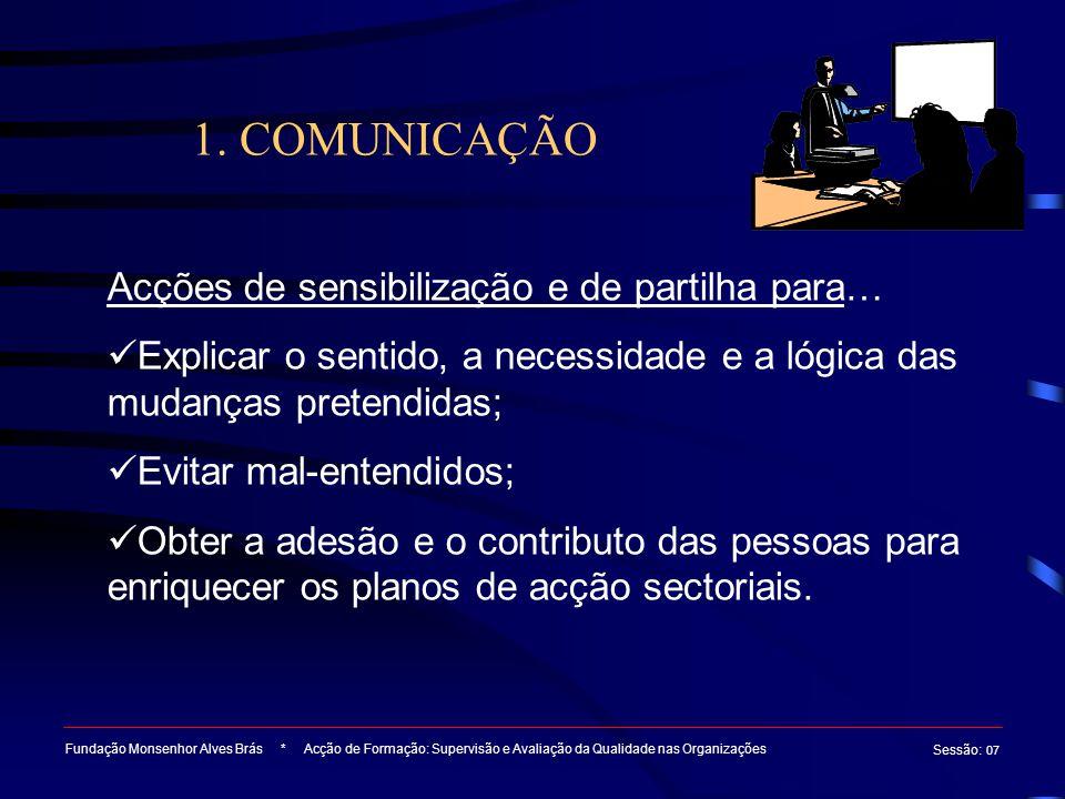1. COMUNICAÇÃO Fundação Monsenhor Alves Brás * Acção de Formação: Supervisão e Avaliação da Qualidade nas Organizações Sessão : 07 Acções de sensibili