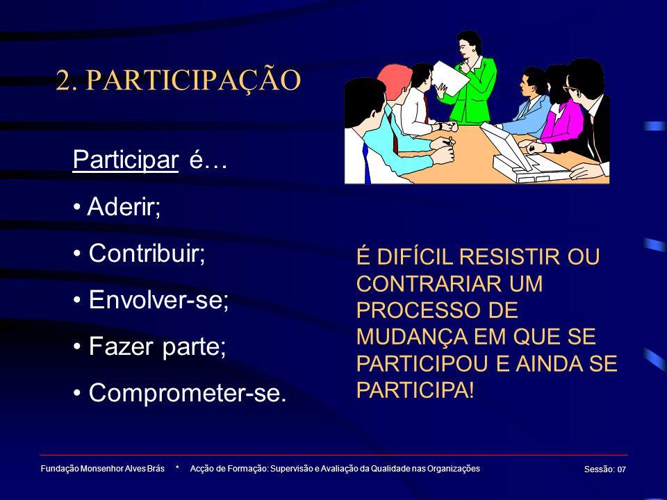 2. PARTICIPAÇÃO Fundação Monsenhor Alves Brás * Acção de Formação: Supervisão e Avaliação da Qualidade nas Organizações Sessão : 07 Participar é… Ader