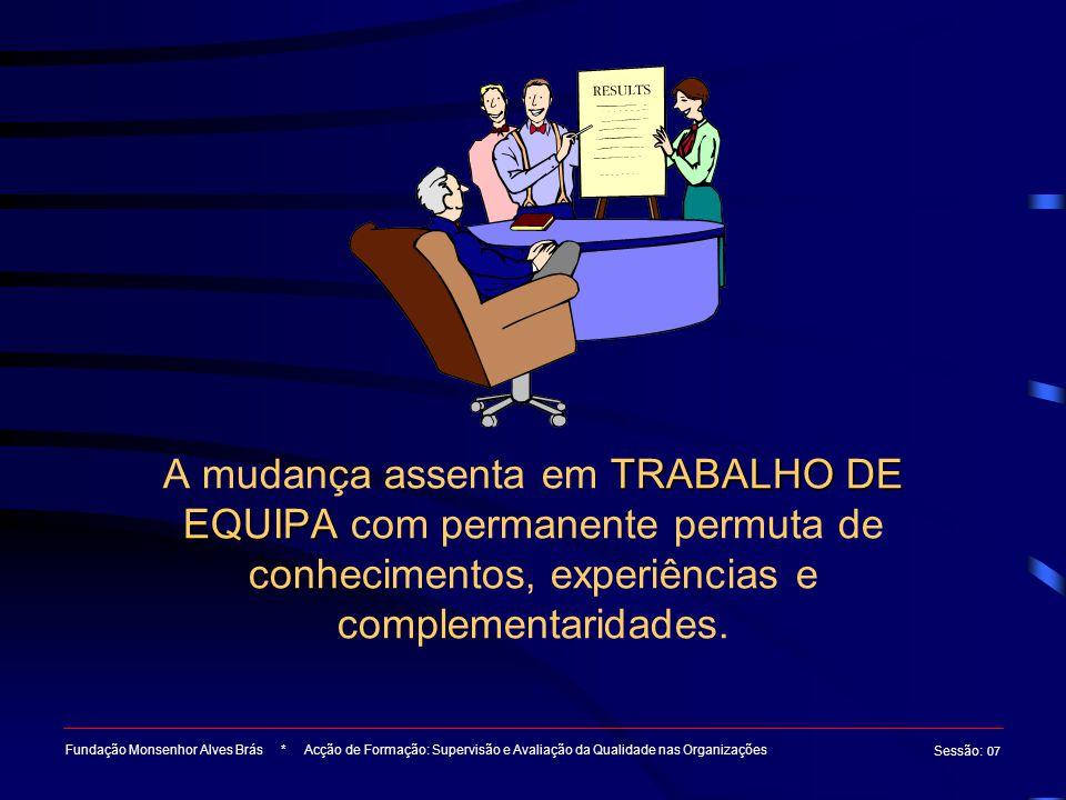TRABALHO DE EQUIPA A mudança assenta em TRABALHO DE EQUIPA com permanente permuta de conhecimentos, experiências e complementaridades. Fundação Monsen