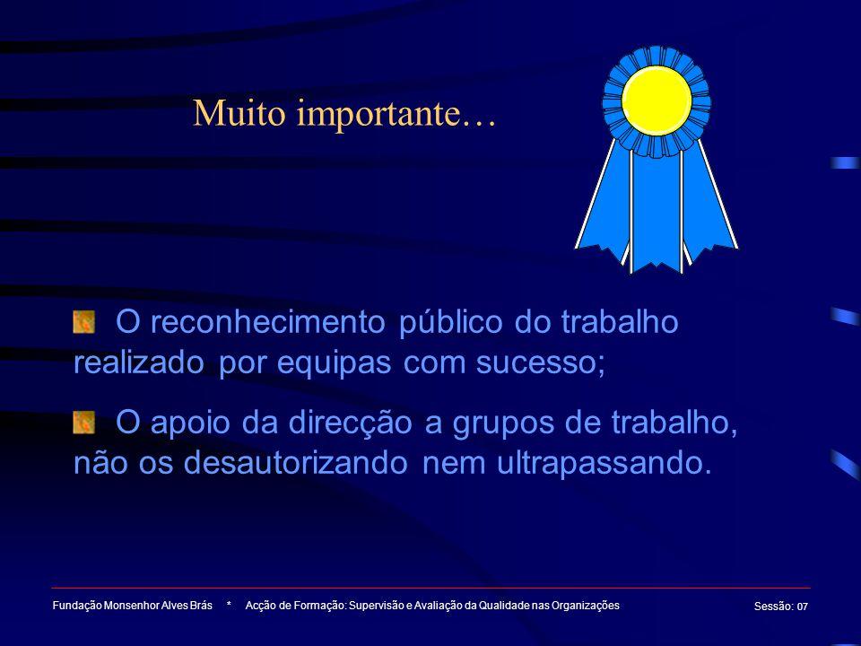 Muito importante… Fundação Monsenhor Alves Brás * Acção de Formação: Supervisão e Avaliação da Qualidade nas Organizações Sessão : 07 O reconhecimento