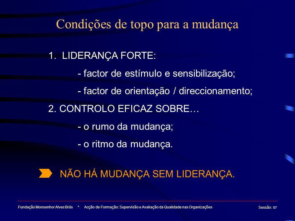 Condições de topo para a mudança Fundação Monsenhor Alves Brás * Acção de Formação: Supervisão e Avaliação da Qualidade nas Organizações Sessão : 07 1