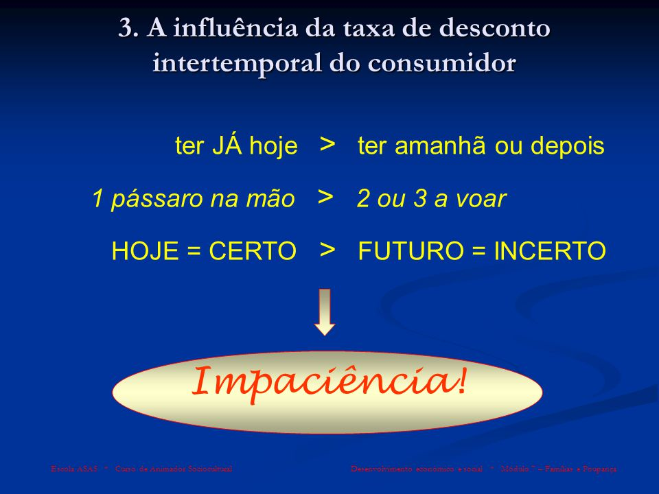 Escola ASAS * Curso de Animador Sociocultural Desenvolvimento económico e social * Módulo 7 – Famílias e Poupança 3. A influência da taxa de desconto