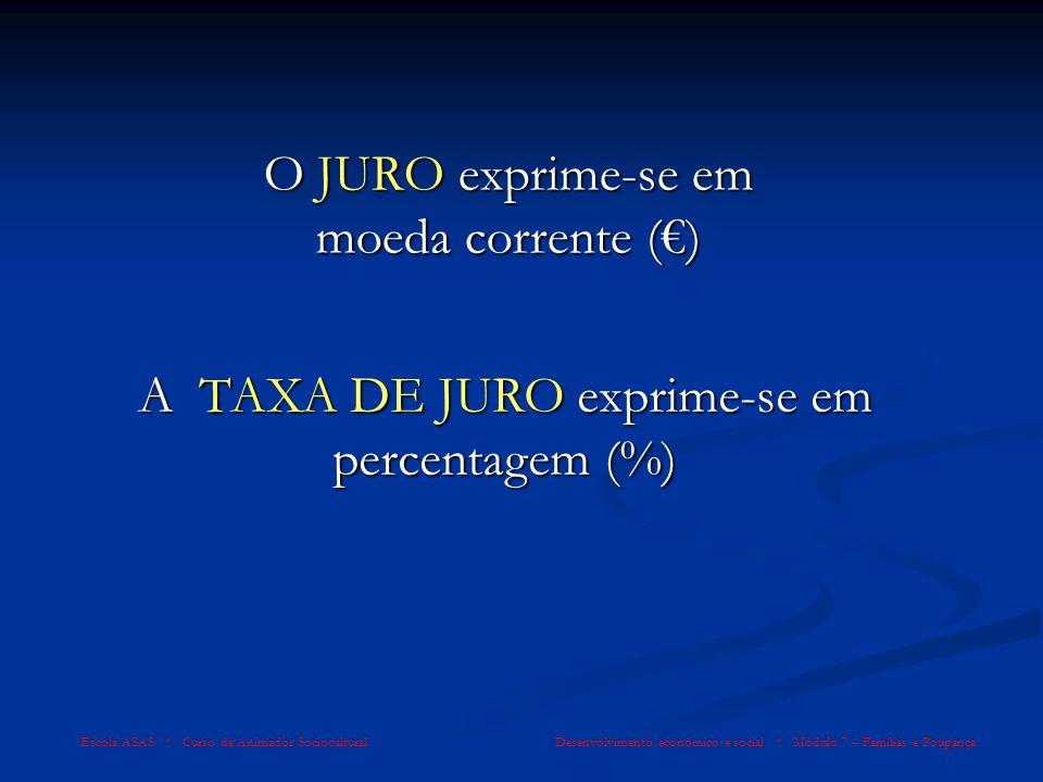 O JURO exprime-se em moeda corrente () Escola ASAS * Curso de Animador Sociocultural Desenvolvimento económico e social * Módulo 7 – Famílias e Poupan
