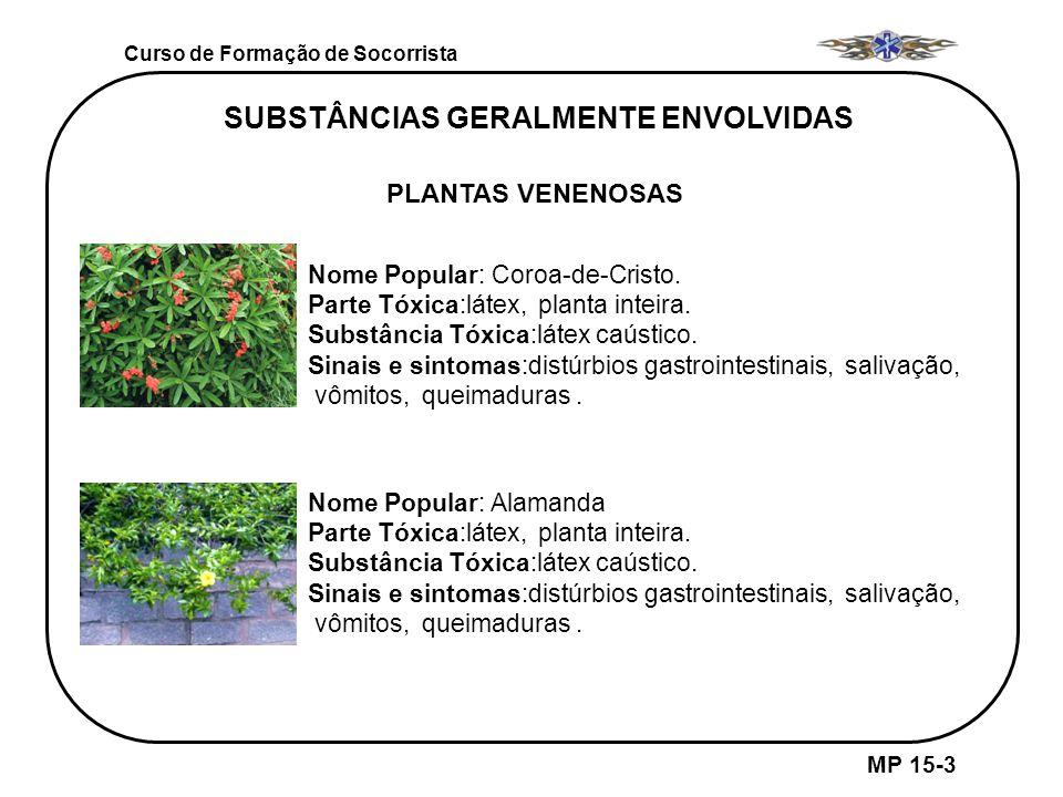 Curso de Formação de Socorrista MP 15-3 SUBSTÂNCIAS GERALMENTE ENVOLVIDAS PLANTAS VENENOSAS Nome Popular: Alamanda Parte Tóxica:látex, planta inteira.