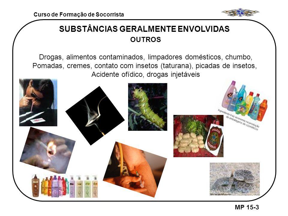 MP 15-3 SUBSTÂNCIAS GERALMENTE ENVOLVIDAS OUTROS Drogas, alimentos contaminados, limpadores domésticos, chumbo, Pomadas, cremes, contato com insetos (