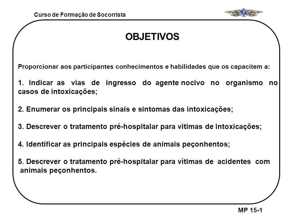 Curso de Formação de Socorrista MP 15-1 OBJETIVOS Proporcionar aos participantes conhecimentos e habilidades que os capacitem a: 1.Indicar as vias de