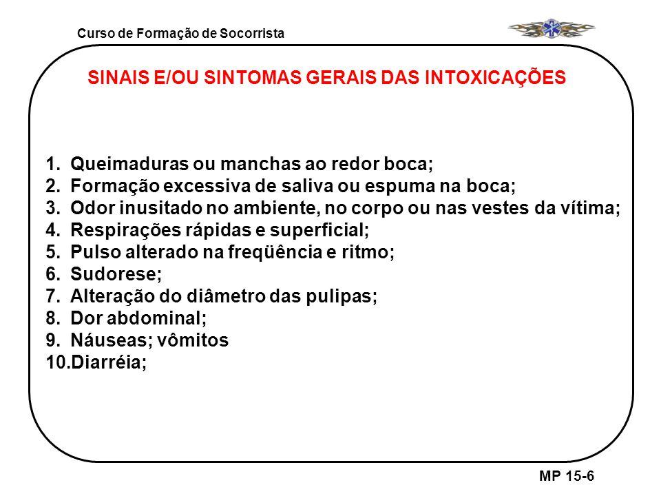 Curso de Formação de Socorrista MP 15-6 SINAIS E/OU SINTOMAS GERAIS DAS INTOXICAÇÕES 1.Queimaduras ou manchas ao redor boca; 2.Formação excessiva de s