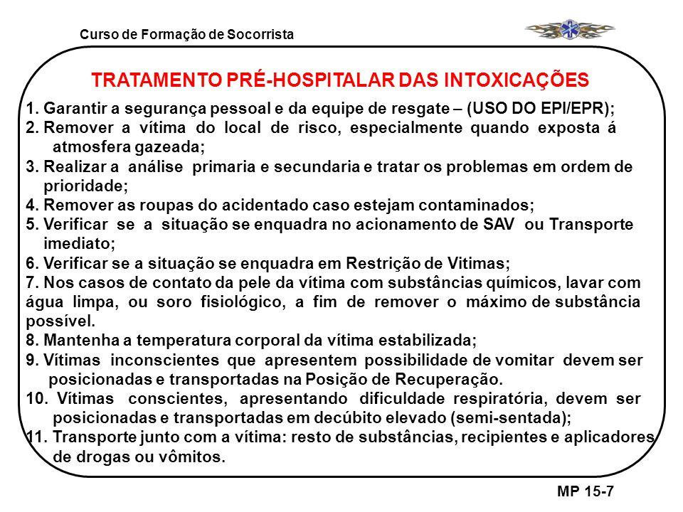 Curso de Formação de Socorrista MP 15-7 TRATAMENTO PRÉ-HOSPITALAR DAS INTOXICAÇÕES 1. Garantir a segurança pessoal e da equipe de resgate – (USO DO EP