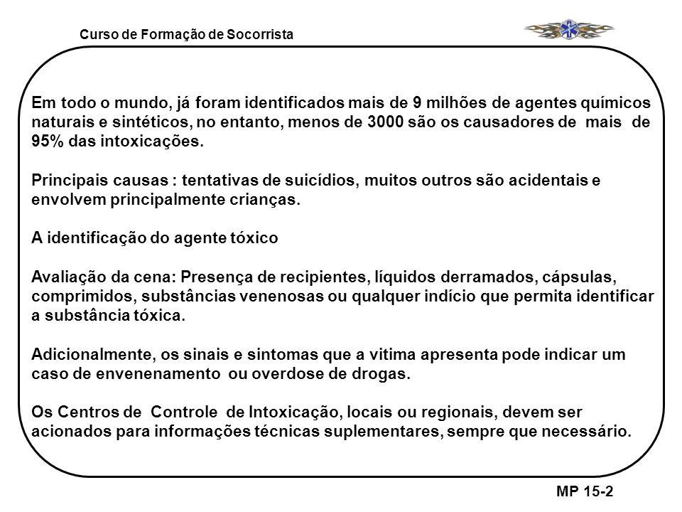 Curso de Formação de Socorrista MP 15-6 SINAIS E/OU SINTOMAS GERAIS DAS INTOXICAÇÕES 11.
