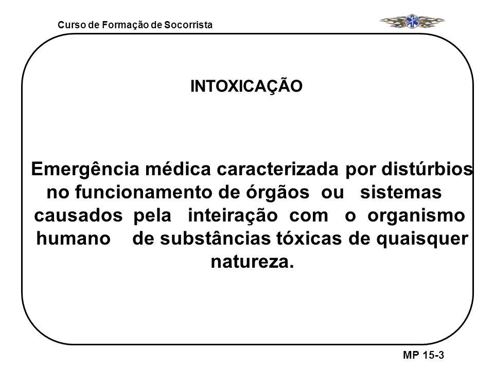 Curso de Formação de Socorrista MP 15-3 INTOXICAÇÃO Emergência médica caracterizada por distúrbios no funcionamento de órgãos ou sistemas causados pel