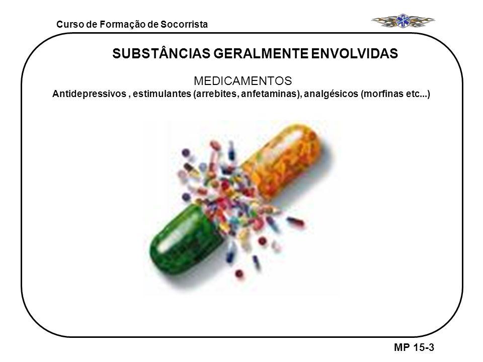 Curso de Formação de Socorrista MP 15-3 SUBSTÂNCIAS GERALMENTE ENVOLVIDAS MEDICAMENTOS Antidepressivos, estimulantes (arrebites, anfetaminas), analgés