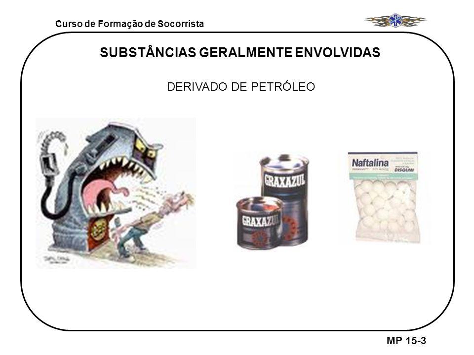 Curso de Formação de Socorrista MP 15-3 DERIVADO DE PETRÓLEO SUBSTÂNCIAS GERALMENTE ENVOLVIDAS