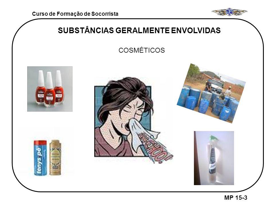 Curso de Formação de Socorrista MP 15-3 SUBSTÂNCIAS GERALMENTE ENVOLVIDAS COSMÉTICOS