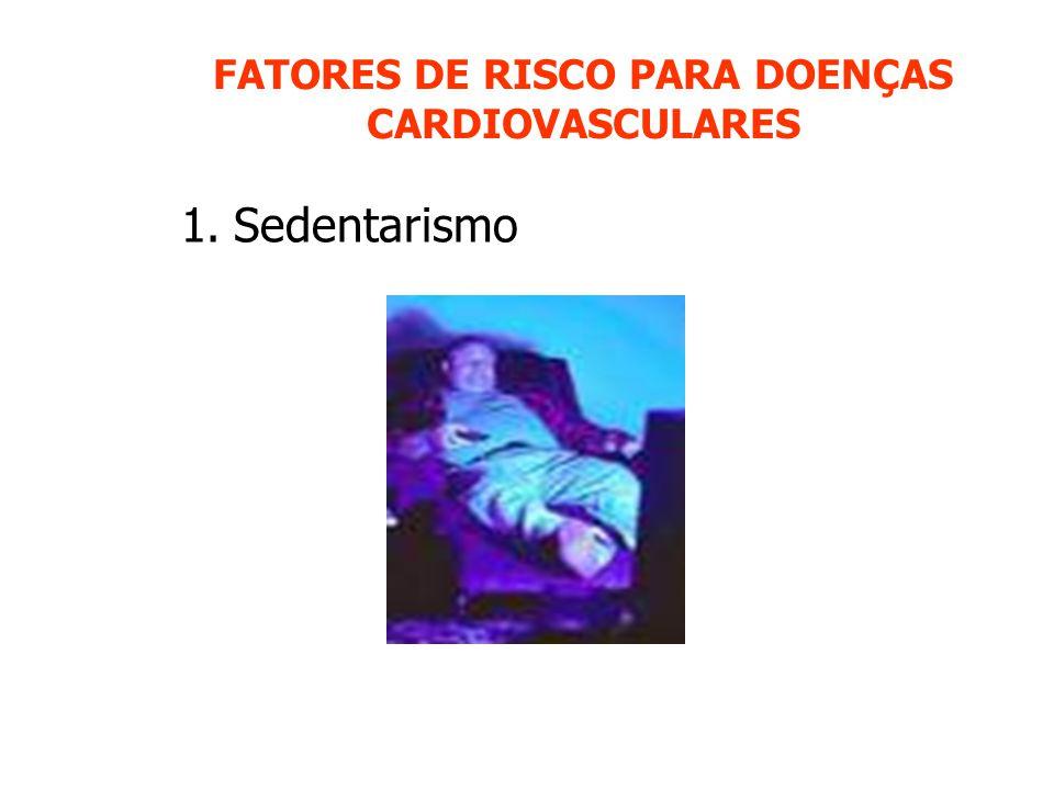 FATORES DE RISCO PARA DOENÇAS CARDIOVASCULARES 1.Sedentarismo