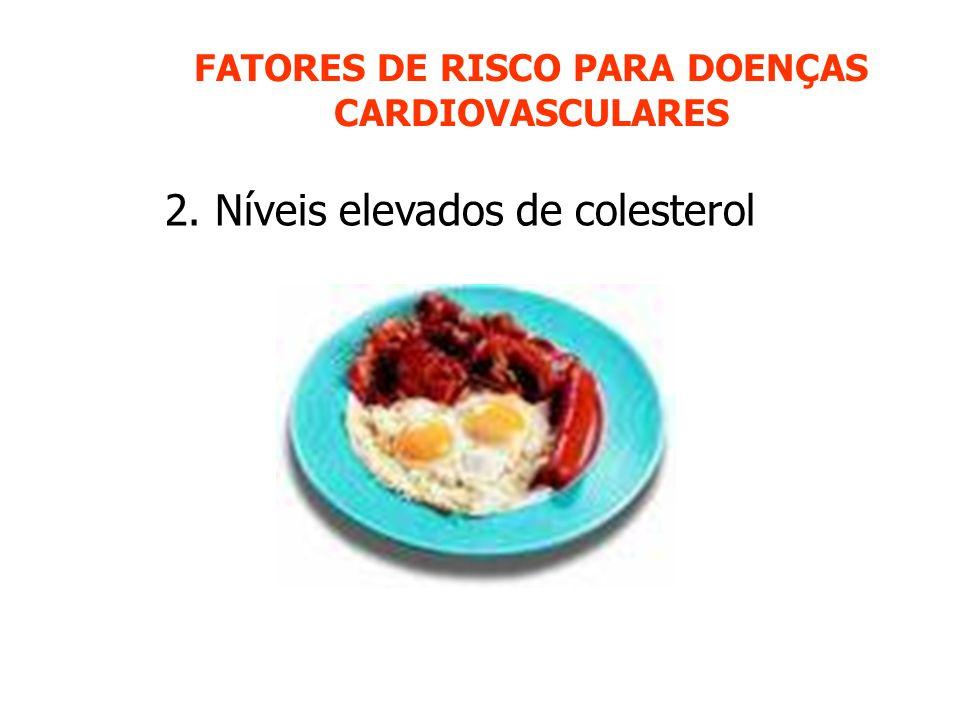 FATORES DE RISCO PARA DOENÇAS CARDIOVASCULARES 2. Níveis elevados de colesterol