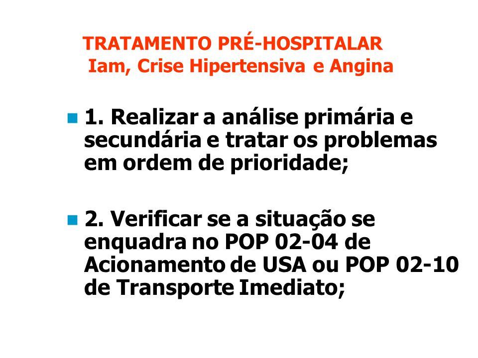 TRATAMENTO PRÉ-HOSPITALAR Iam, Crise Hipertensiva e Angina 1.