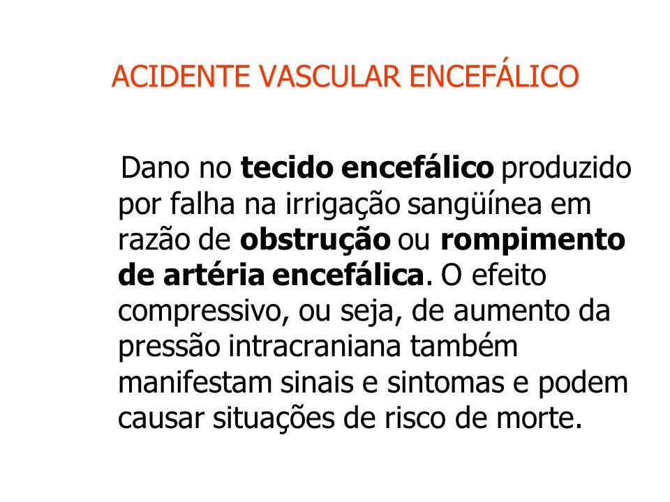 ACIDENTE VASCULAR ENCEFÁLICO Dano no tecido encefálico produzido por falha na irrigação sangüínea em razão de obstrução ou rompimento de artéria encefálica.