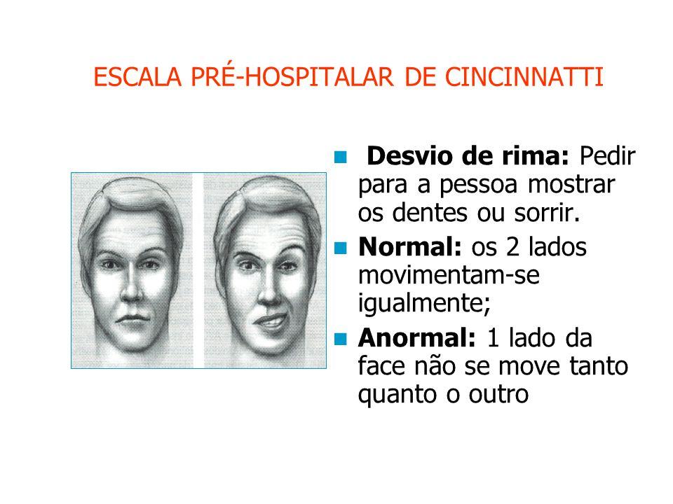 ESCALA PRÉ-HOSPITALAR DE CINCINNATTI Desvio de rima: Pedir para a pessoa mostrar os dentes ou sorrir.