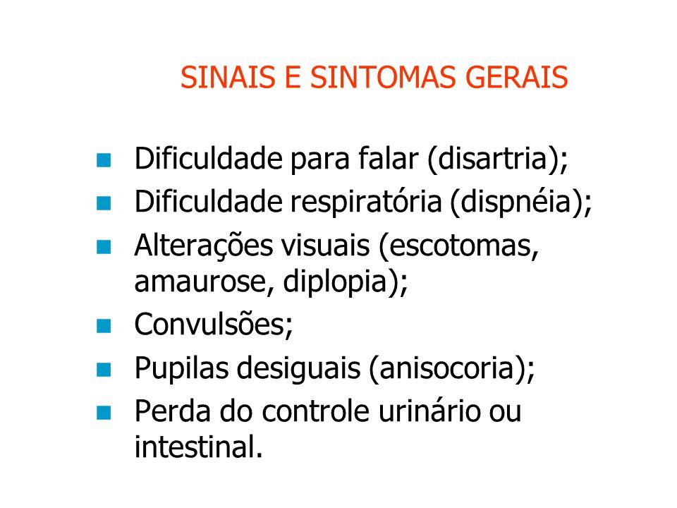 SINAIS E SINTOMAS GERAIS Dificuldade para falar (disartria); Dificuldade respiratória (dispnéia); Alterações visuais (escotomas, amaurose, diplopia); Convulsões; Pupilas desiguais (anisocoria); Perda do controle urinário ou intestinal.