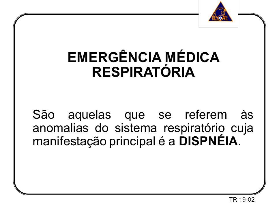 EMERGÊNCIA MÉDICA RESPIRATÓRIA São aquelas que se referem às anomalias do sistema respiratório cuja manifestação principal é a DISPNÉIA.
