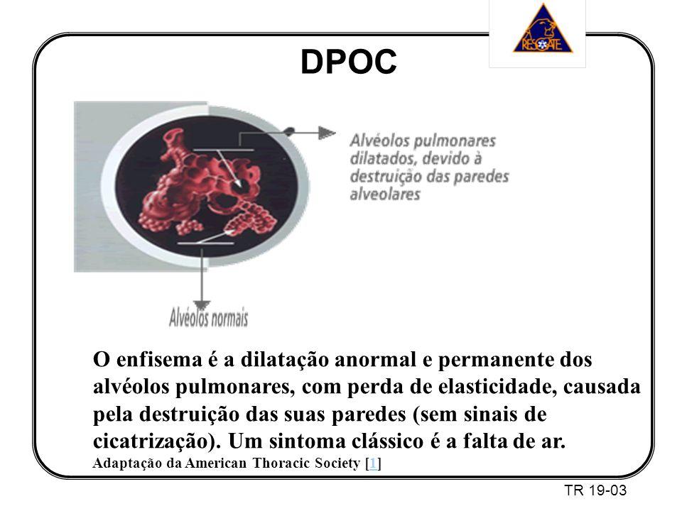 DPOC TR 19-03 O enfisema é a dilatação anormal e permanente dos alvéolos pulmonares, com perda de elasticidade, causada pela destruição das suas paredes (sem sinais de cicatrização).